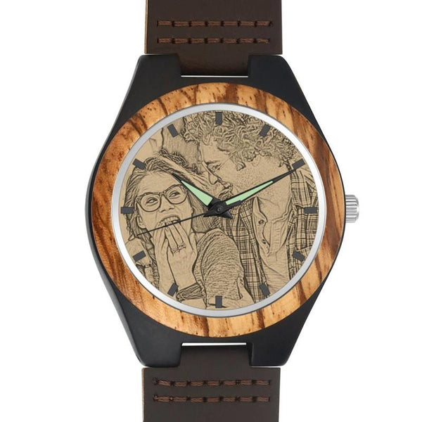 Christmas Gifts - Custom Engraved Bamboo Photo Watch Brown Leather Strap