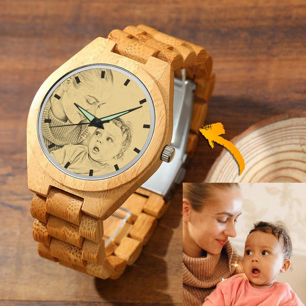 Father's Day Gifts - Custom Engraved Bamboo Photo Watch Wooden Leather Strap