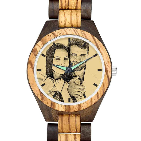 Father's Day Gifts - Custom Engraved Wooden Photo Watch Wooden Strap