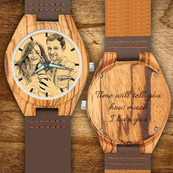 Christmas Gifts - Custom Engraved Wooden Photo Watch Brown Leather Strap