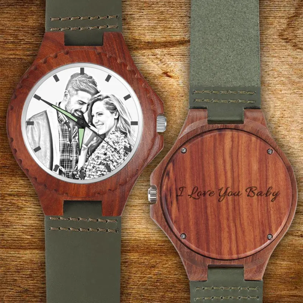 Father's Day Gifts - Custom Engraved Wood Photo Watch Dark Green Leather Strap