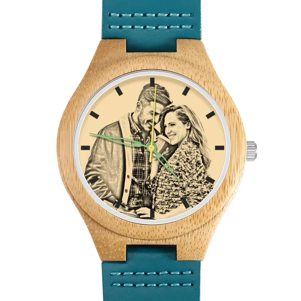 Father's Day Gifts - Custom Engraved Banboo Photo Watch Blue Leather Strap