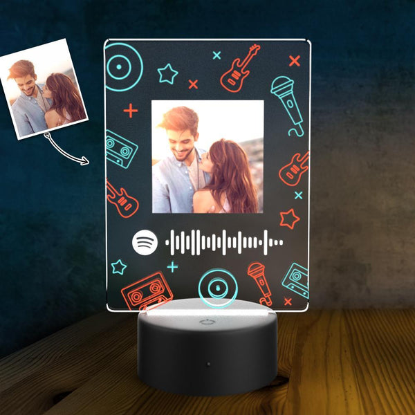 Scannable Spotify Code Personalized Led Light Lamp Custom Night Light Music Song Plaque