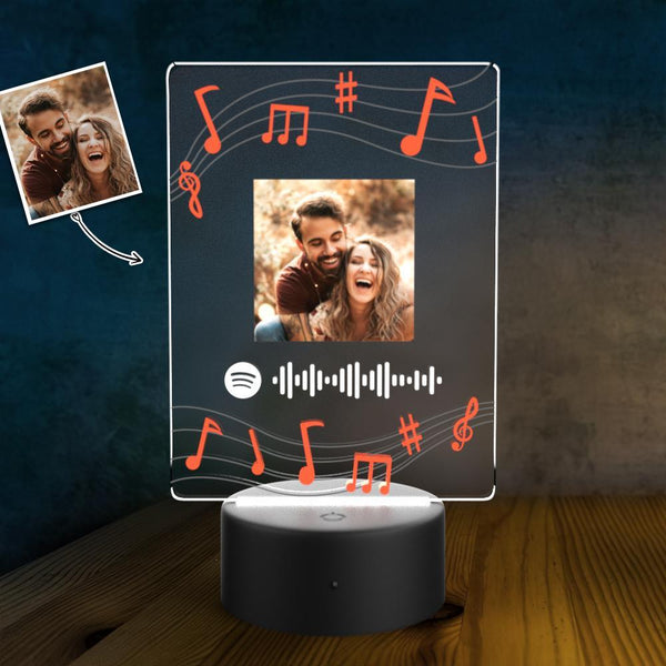 Custom Photo Scannable Spotify Code LED light Personalized lamp Night Light Couples Gift