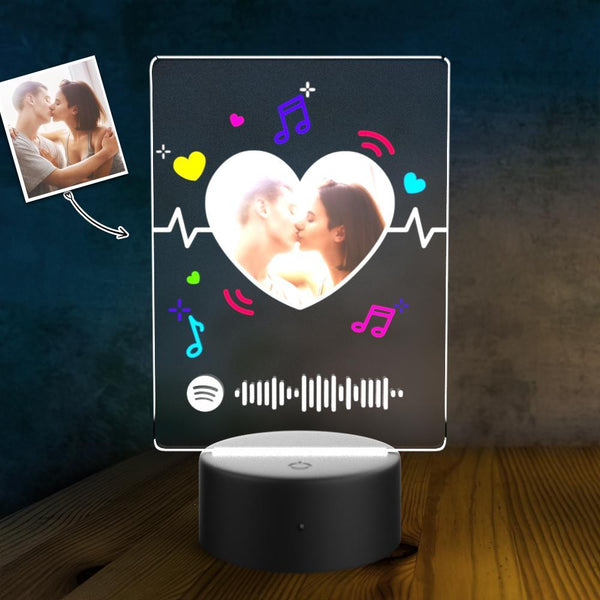 SPOTIFY CODE Custom Photo Acrylic 3D Lamp Plaque Set Personalized Night Light Valentine's Present