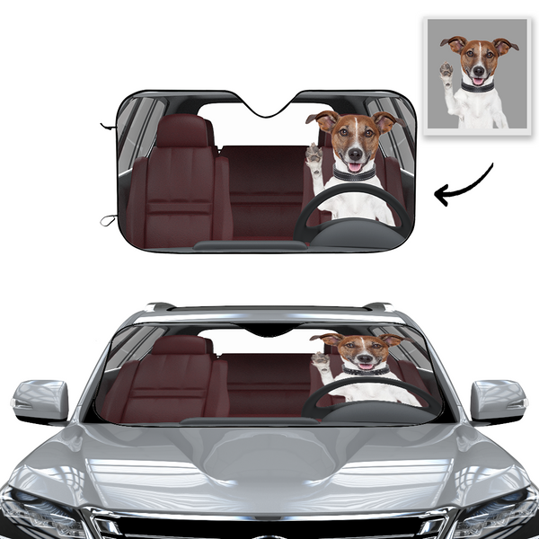Custom Car Sun Shade-Hi Dog!