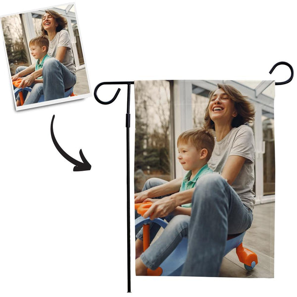 Custom Outdoor Mother Photo Garden Flag  (12in x 18in)