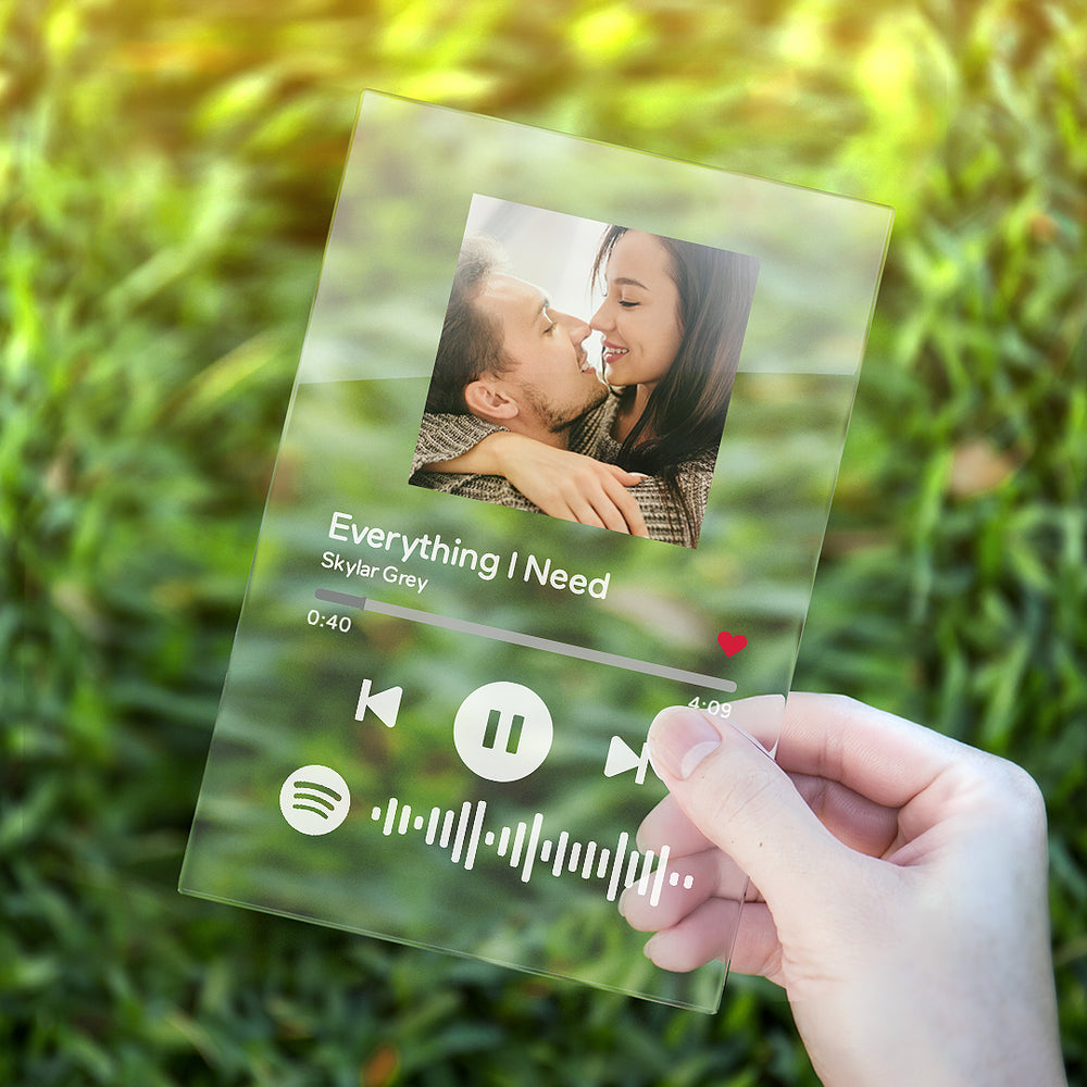Custom Personalized GLASS Spotify Music Song Plaque.