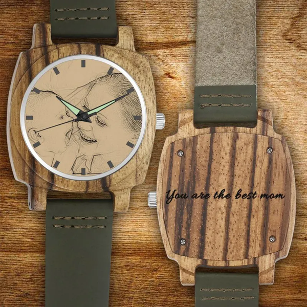 Christmas Gifts - Custom Engraved Bamboo Photo Watch Dark Green Leather Strap