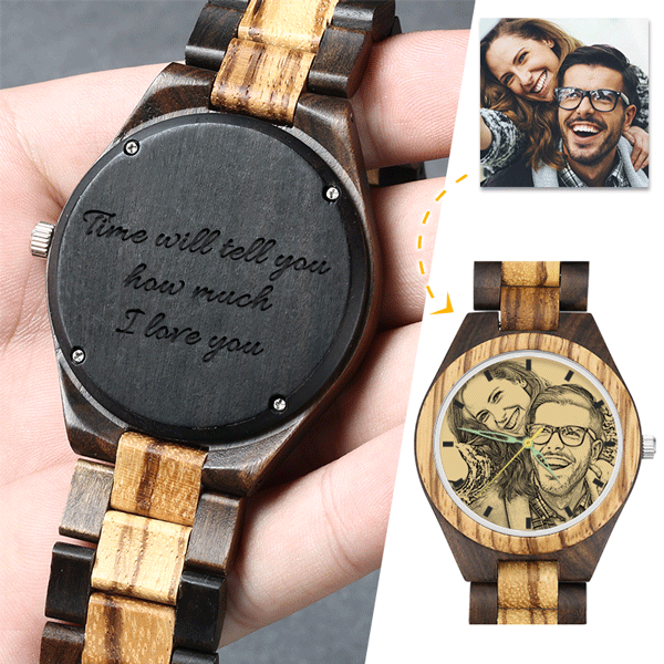 Father's Day Gifts - Custom Engraved Bamboo Photo Watch Wooden Strap