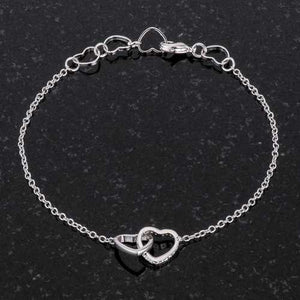 .12 Ct Rhodium Interlocked Hearts Bracelet with CZ Accents