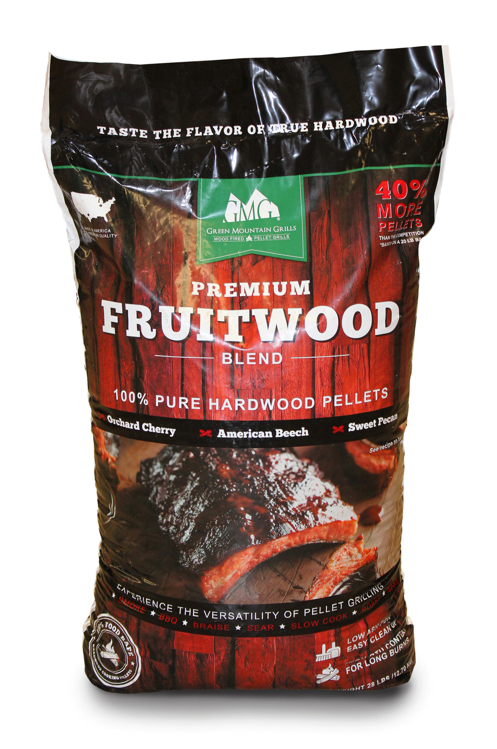 Green Mountian Grills Premium Fruitwood Pellets 12.7kg - Full Throttle Barbeque