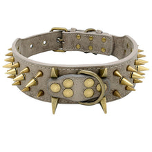 Load image into Gallery viewer, Hands OffTM Stylish Leather Large Breed Dog Collar with Studs and Spikes