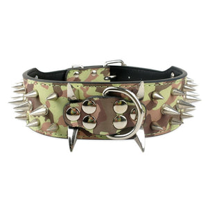 Hands OffTM Stylish Leather Large Breed Dog Collar with Studs and Spikes