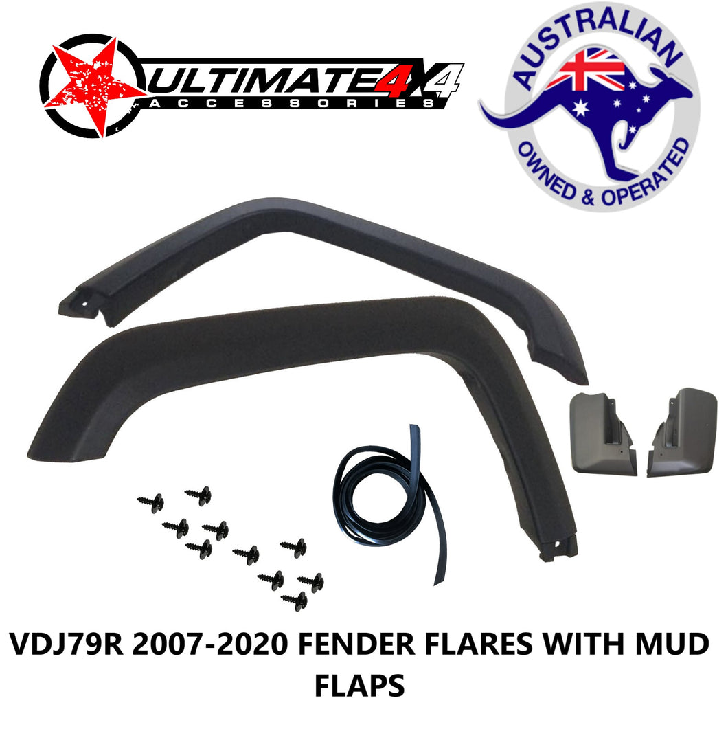 FENDER FLARE REPLACEMENT KIT (MATTE BLACK) TOYOTA LANDCRUISER 79 SERIES REPLACEMENT FENDER FLARES 07+