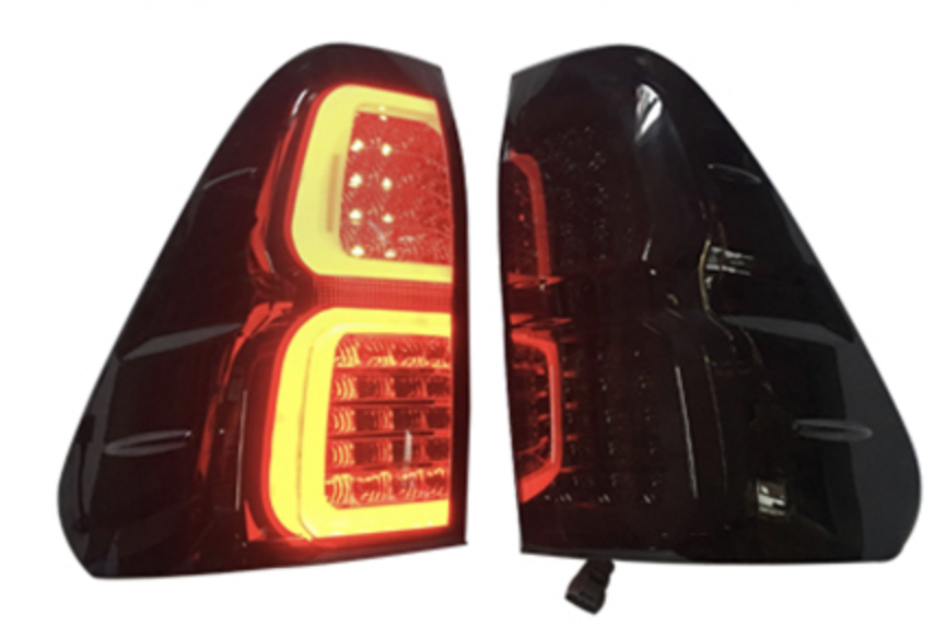 Taillight Covers (Matte Black with LED) fits Toyota Hilux 2015+