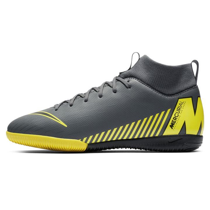 Mercurial Superfly Academy DF Grey/Yellow Junior Indoor Football Trainers