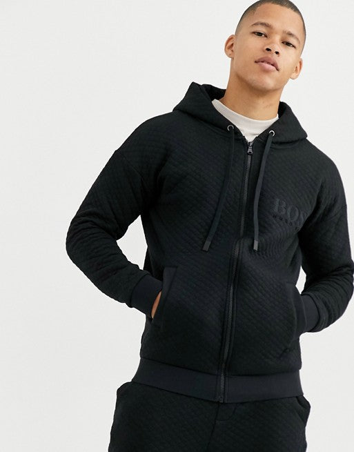 Body-wear Contemporary Quilted Zip-through Hooded Track Jacket