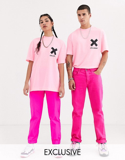 Unisex T-Shirt In Washed Neon Pink