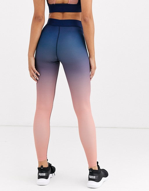 Exclusive High Waist Ombre Leggings In Blue