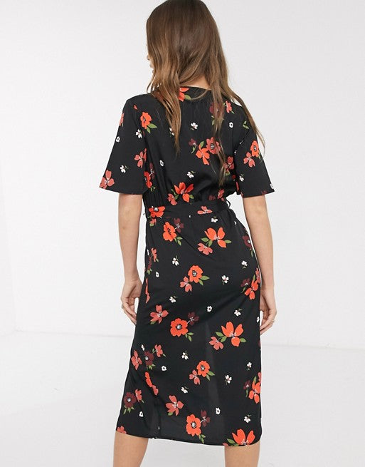Wrap Floral Print Midi Dress With Double Splits In Black