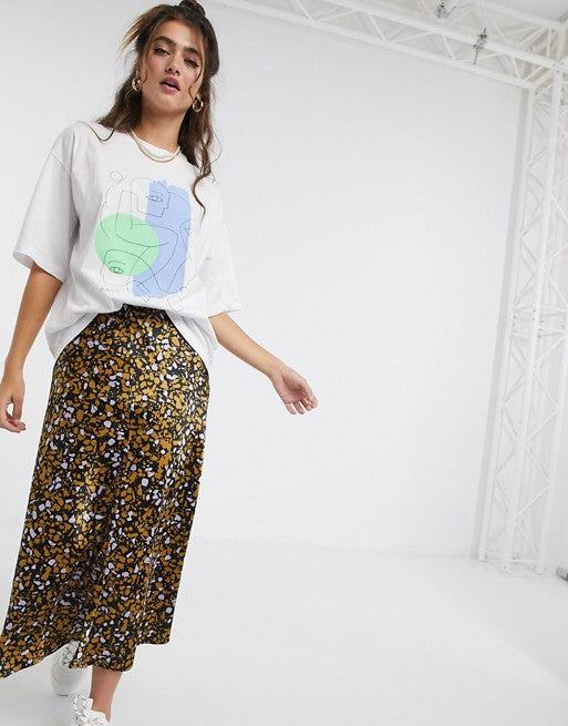 Organic Cotton Line Face Print Oversize T-Shirt In White