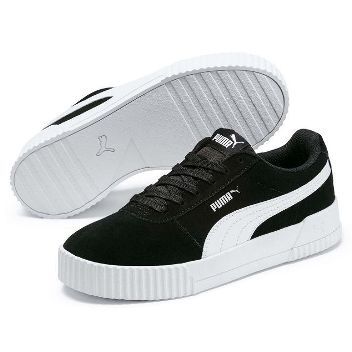 huge selection of f7ae9 80ee2 Puma Carina Suede Black/White Ladies Trainers - 37