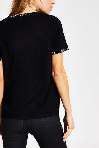 Black Amour Neck Print T-Shirt