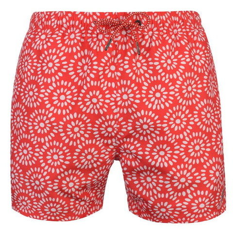 Geo Red/White Swim Shorts Mens
