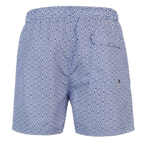 Geo Blue/White Swim Shorts Mens