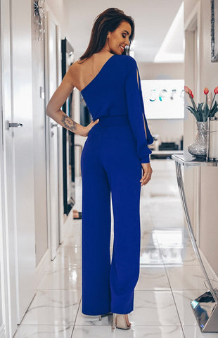 DANIKA ONE SHOULDER BELTED JUMPSUIT