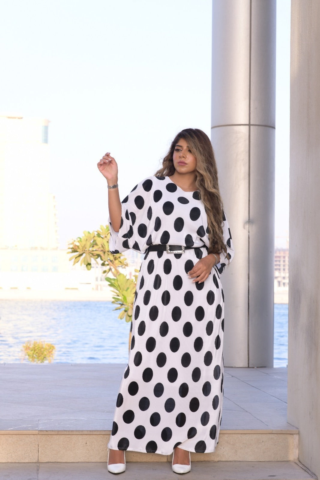 1002 Collection White Polka Dot Dress