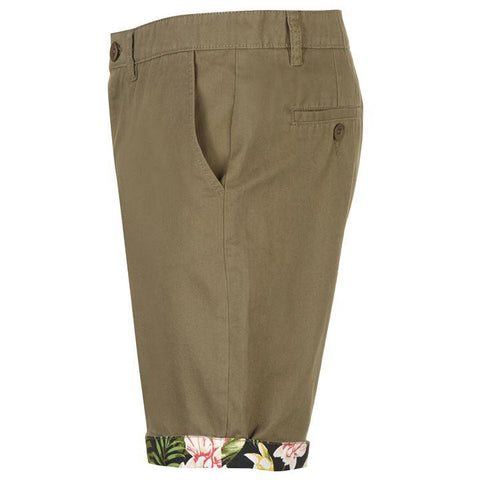 Khaki AOP Turn Up Men's Shorts