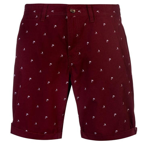 Soul Cal Burgundy All Over Print Chino Men's Shorts