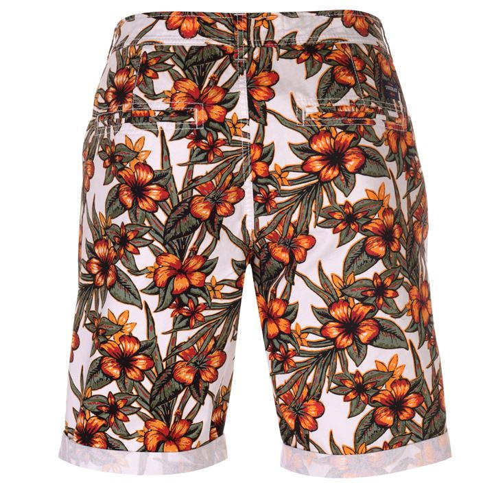 Soul Cal Orange Floral All Over Print Chino Men's Shorts