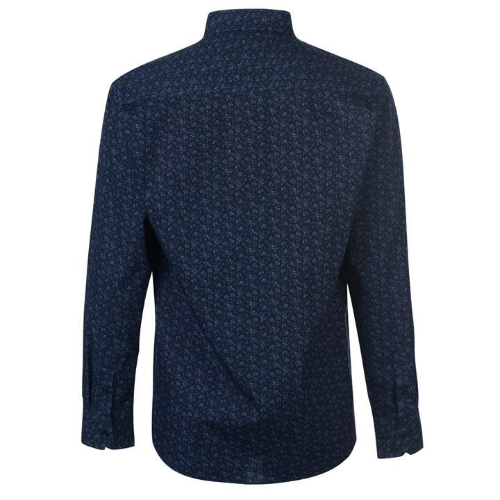 Navy/Grey Floral Long Sleeve Shirts Men's
