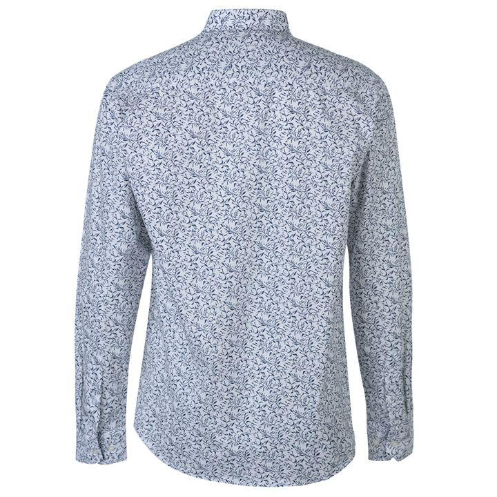 White/Blue Leaves Floral Long Sleeve Shirts Men's