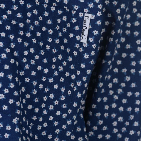 Blue/White Ditzy Floral Long Sleeve Shirts Men's