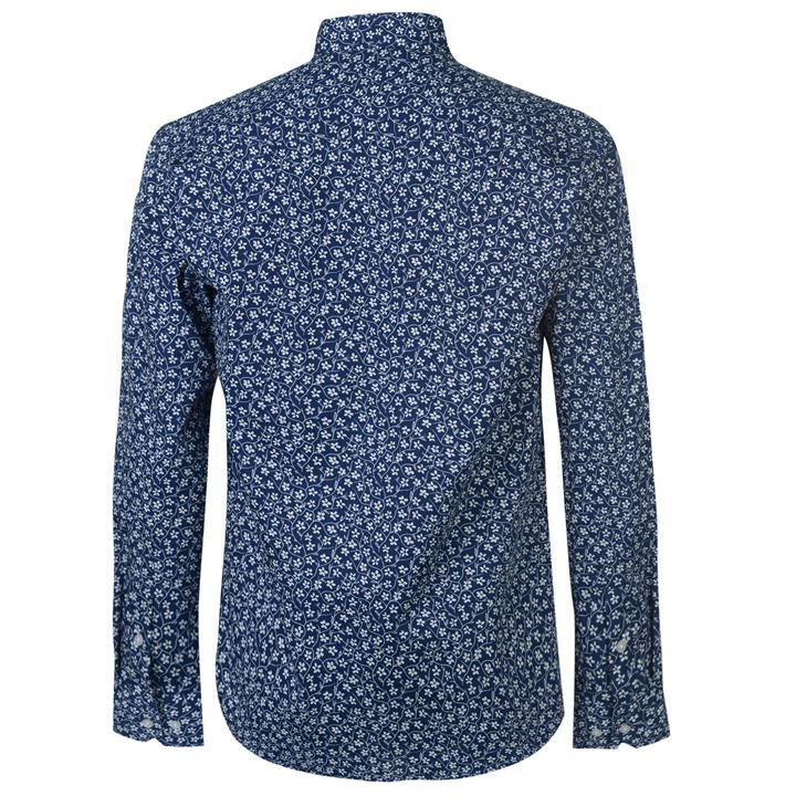 Dark Blue/White Floral Long Sleeve Shirts Men's