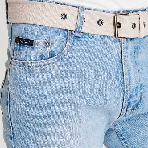 Light Wash Web Belt Men's Shorts