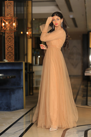 Beige Tulle Dress By 1002 Collection