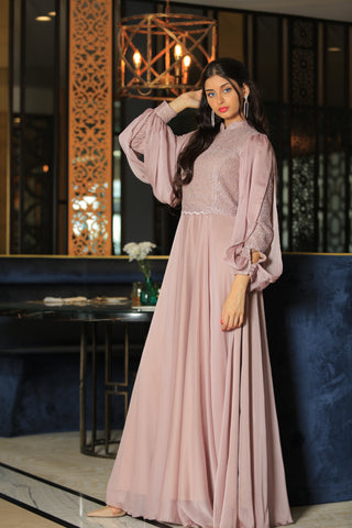 Blush Pink Chiffon Dress By 1002 Collection