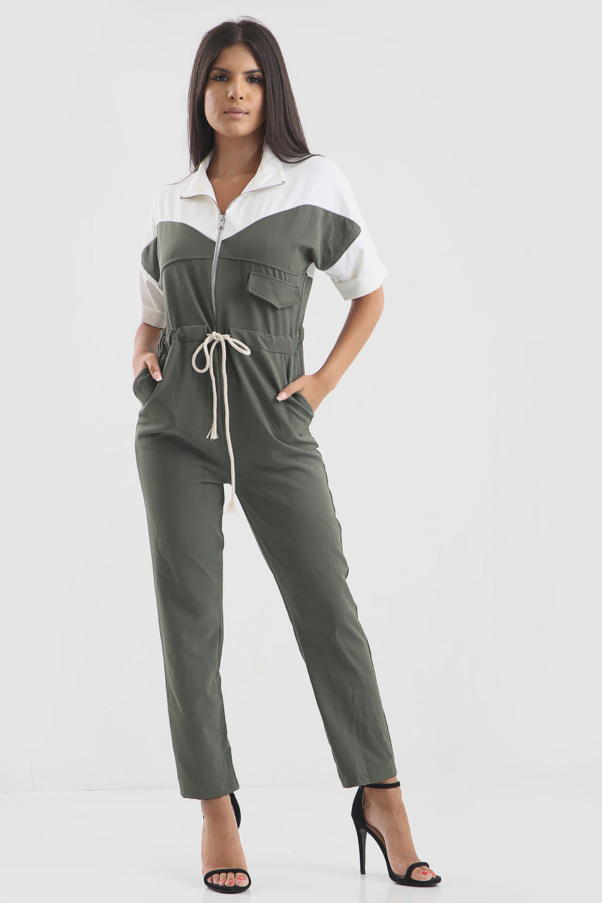 One Size Contrast Smart Jumpsuit