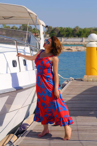 Blu and Red Beach Maxi Dress