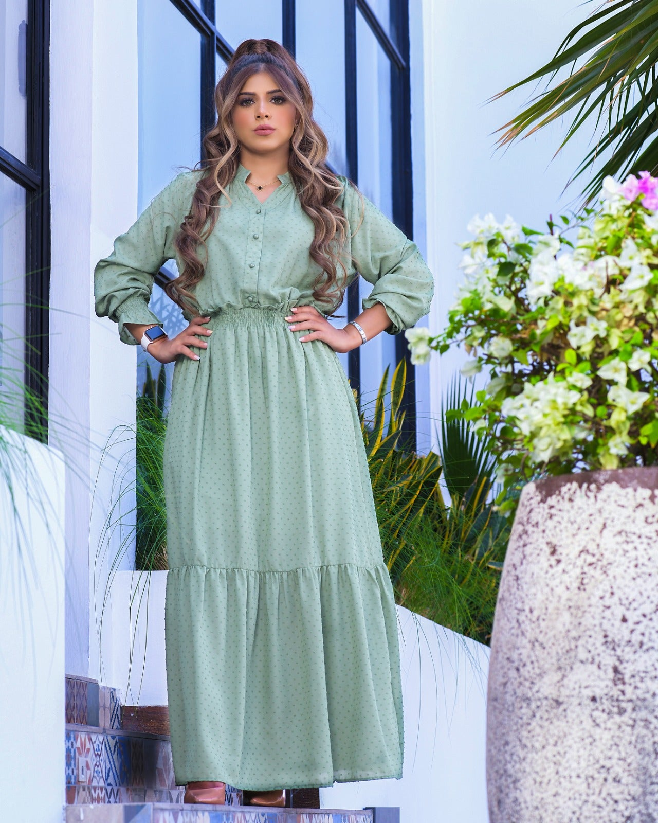 Long Buttoned Up Dress By 1002 Collection