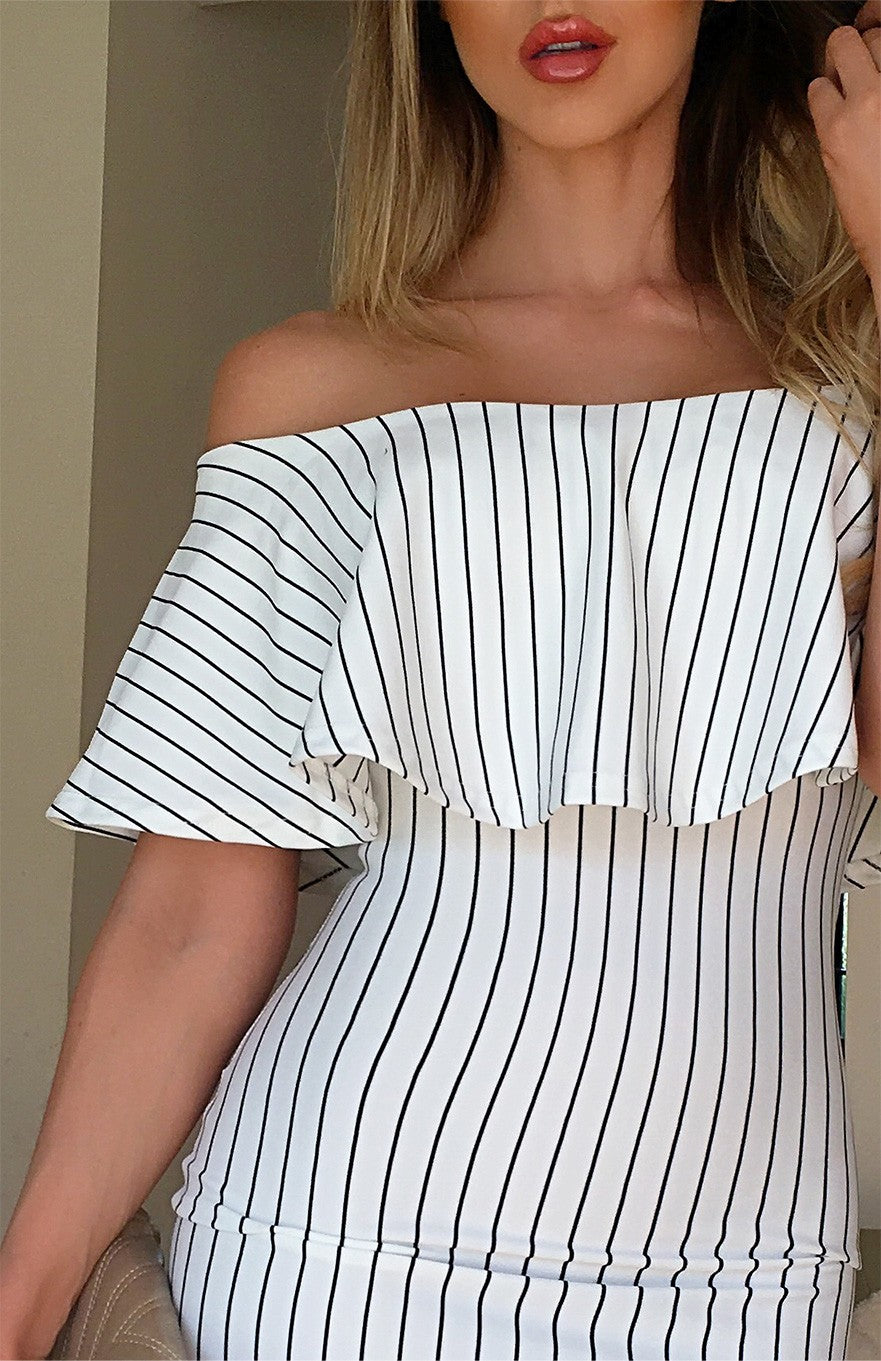 MELODY STRIPED BARDOT MIDI DRESS
