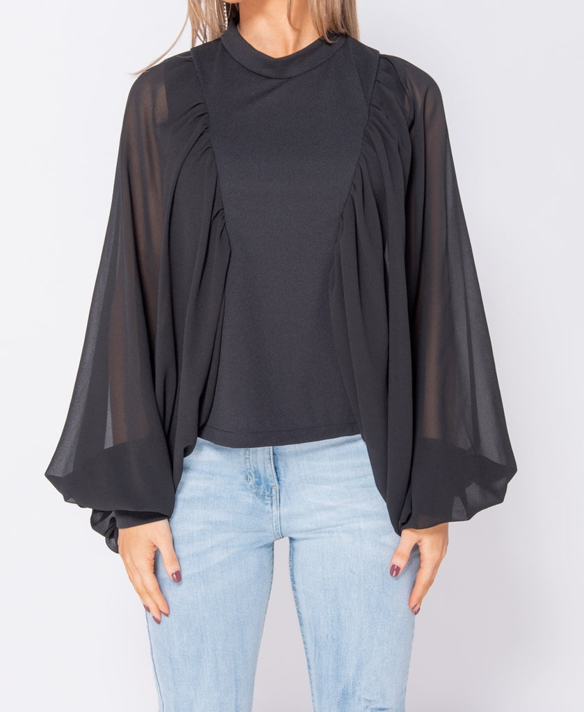 Batwing Chiffon Sleeve High Neck Blouse