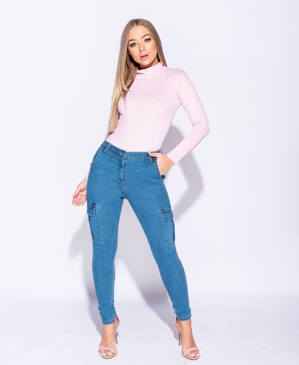 Cargo Pocket Mid Rise Skinny Jeans