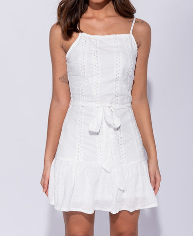 Crochet Lace Trim Self Belt Cami Mini Dress