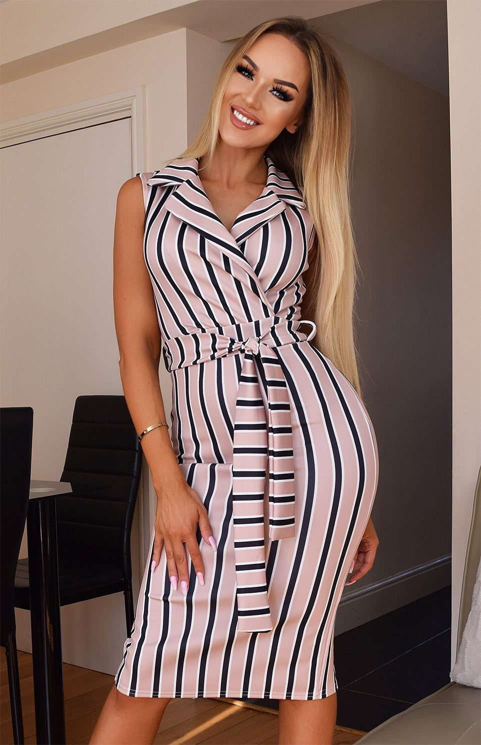 EDITH STRIPED WRAP MIDI DRESS